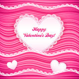 Vector pink wavy Valentine's Day background Stock Photos