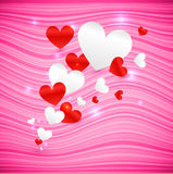 Vector pink wavy Valentine's Day background Stock Images
