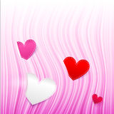 Vector pink wavy Valentine's Day background Royalty Free Stock Images