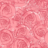 Vector pink wedding floral grunge seamless pattern. Hand drawn  illustration Royalty Free Stock Photo