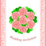 Vector Pink wedding invitation Stock Image