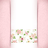 Vector pink and white invitation card with floral pattern. Stock Photos