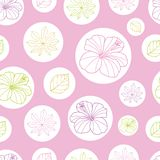 Vector pink and white tropical leaves and hibiscus flower seamless pattern background. Perfect for fabric, scrapbooking, wallpaper stock illustration