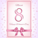 Vector pink women`s day greeting card. Stock Photos