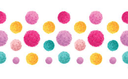 Vector Pink Yellow Colorful Birthday Party Pom Poms Set Horizontal Seamless Repeat Border Pattern. Great for handmade Royalty Free Stock Photo