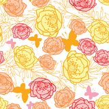 Vector pink, yellow, orange leaves, butterflies, and flowers summer seamless pattern. Vector pink, yellow, orange leaves and flowers summer seamless pattern Royalty Free Stock Photo
