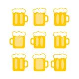 Vector pint tankards. Oktoberfest set. mug of beer bar icons. emblem or beer party Stock Image