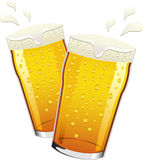 Vector pints of beer toasting Royalty Free Stock Image