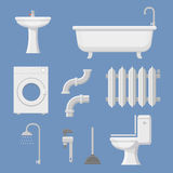 Vector Pipeline plumbing, heater system and Plumber service tools icons set vector Stock Photos