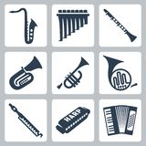 Vector pipes, harmonica and accordion Royalty Free Stock Photo