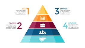 Vector a pirâmide acima das setas infographic, carta do diagrama, apresentação do gráfico do triângulo Conceito do espaço tempora ilustração royalty free
