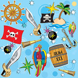 Vector Pirate background. Pattern Pirate still life Royalty Free Stock Photo