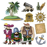 Vector pirate characters set in cartoon style Stock Images