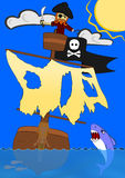 Vector Pirate in Crow's Nest Fighting Shark Royalty Free Stock Photos