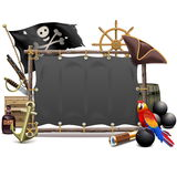 Vector Pirate Frame with Sail Stock Photo