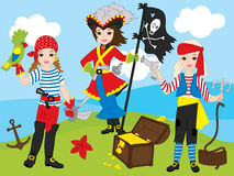 Vector Pirate Girls Set. Vector beautiful pirate girls with anchor, parrot, treasure chest Stock Photo