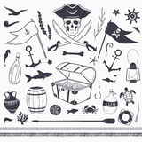 Vector pirate nautical set. Pirate set: pirate flag, skull, treasure chest, anchor, rope, fish vector nautical elements  on white Royalty Free Stock Image