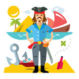 Vector Pirate with saword. Flat style colorful Cartoon illustration. Royalty Free Stock Images