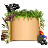 Vector Pirate Scroll with Palm Royalty Free Stock Image