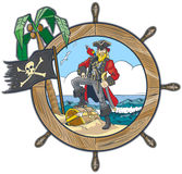 Vector Pirate in Ships Steering Wheel Design. Vector cartoon clip art illustration of a pirate in a ship's steering wheel design with a flag, palm tree, parrot Royalty Free Stock Images
