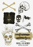 Vector Pirate Skull and Bones Set Stock Images
