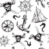 Vector pirate symbols seamless pattern. Royalty Free Stock Photography