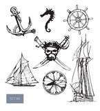 Vector pirate symbols set: jolly roger, anchore. Stock Images