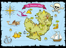 Vector pirate treasure color map. Pirate map and adventure sea, explore map with treasure illustration Royalty Free Stock Photo