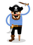 Vector pirate on a white background. Stereotypical vector pirate on a white background with a wooden peg leg  one eye and a skull and crossbones on his hat Stock Photo