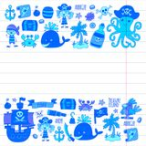 Vector pirates Children cartoon illustration Kids drawing style for kids party in pirate style Octopus, pirate ship Royalty Free Stock Images