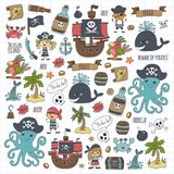 Vector pirates Children cartoon illustration Kids drawing style for kids party in pirate style Octopus, pirate ship royalty free illustration