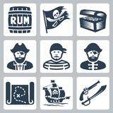 Vector pirates, piracy icons Royalty Free Stock Image