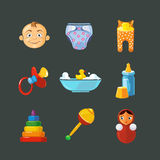 Vector pistures of Toys icons set isolate on dark background Stock Photos