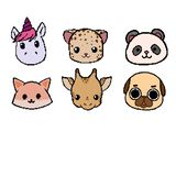 Vector pixel animal face collection. vector illustration