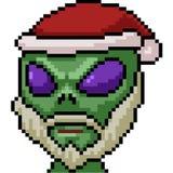 Vector pixel art alien santa. Isolated cartoon vector illustration