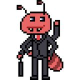 Vector pixel art ant. Isolated Stock Photography