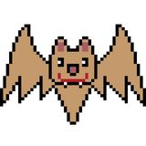 Vector pixel art bat. Isolated Stock Photos