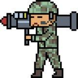 Vector pixel art bazooka army Royalty Free Stock Images