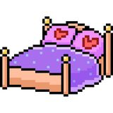 Vector pixel art bed romance. Isolated cartoon Stock Image