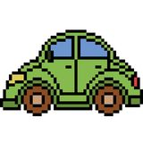 Vector pixel art beetle car. Isolated cartoon Royalty Free Stock Photos