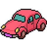 Vector pixel art beetle car. Isolated cartoon Stock Image