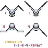 Vector pixel art bird animation frame Stock Image