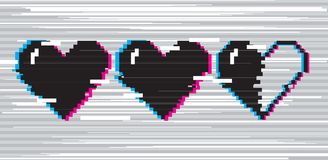 Pixel art hearts for game. Vector pixel art 8 bit style hearts for game. Black stylized illustration with concept of spendable lives game mode. Two full hearts royalty free illustration