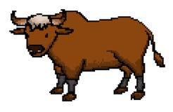 Vector pixel art bull cartoon royalty free illustration