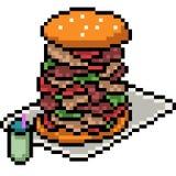 Vector pixel art burger. Isolated cartoon Royalty Free Stock Photo