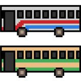 Vector pixel art bus. Isolated Stock Images