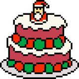 Vector pixel art cake santa claus Royalty Free Stock Image