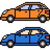 Vector pixel art car. Isolated Royalty Free Stock Photo
