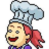 Vector pixel art chef girl. Isolated cartoon stock illustration