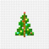 Vector Pixel art Christmas tree. Flat design vector illustration